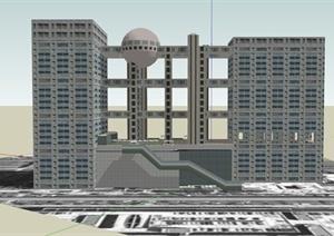 现代某城市中央电视台总部大楼建筑设计SU(草图大师)模型