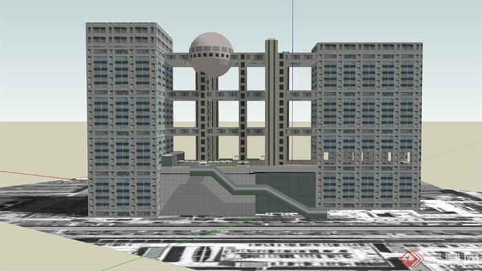 现代某城市中央电视台总部大楼建筑设计SU模型(1)