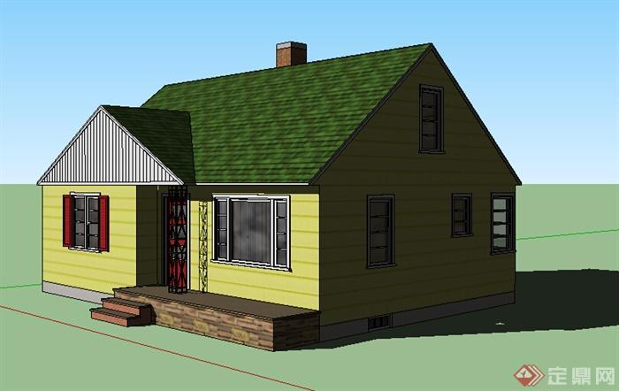 现代风格两层带阁楼住宅建筑设计su模型