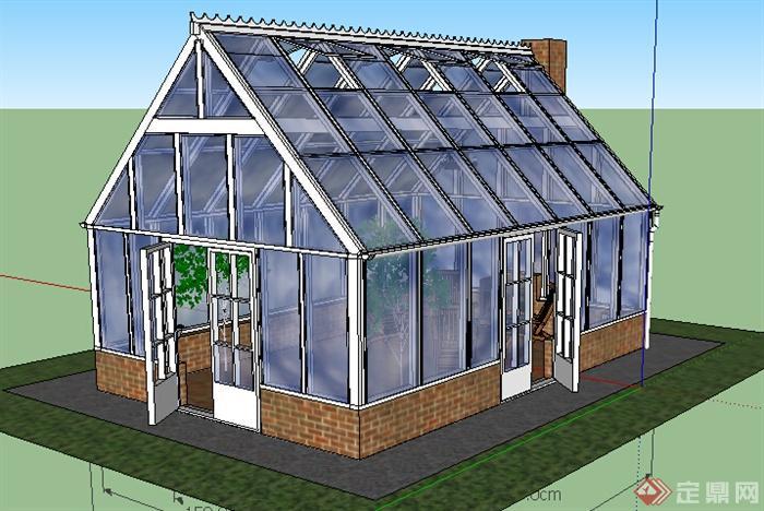 现代风格玻璃阳光花房建筑设计su模型(1)