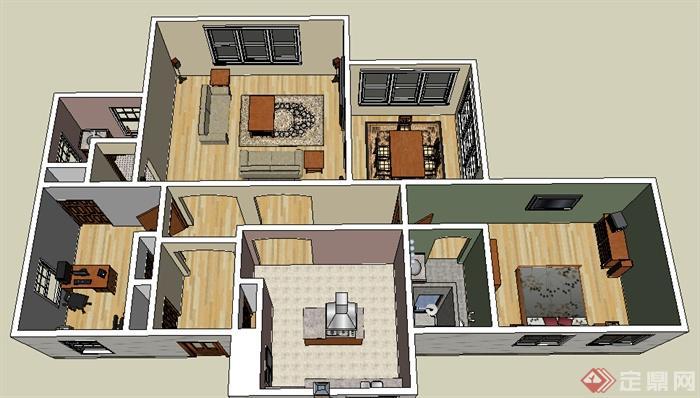某现代大户型住宅空间设计su模型
