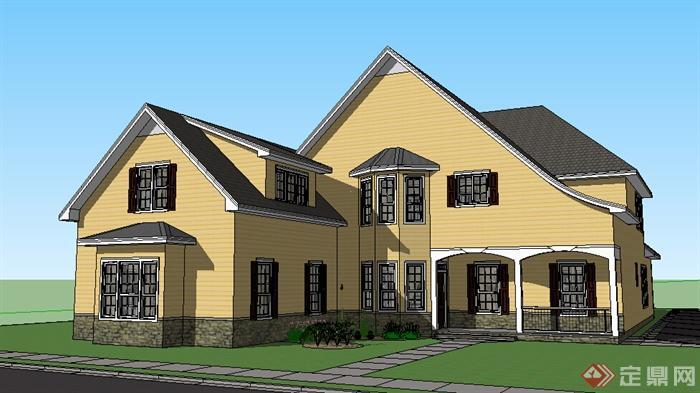 某个多层美式小别墅设计su模型