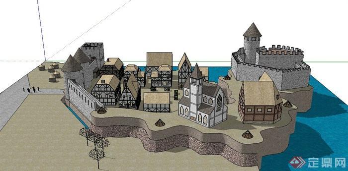 欧式某城堡住宅区住宅建筑设计su模型