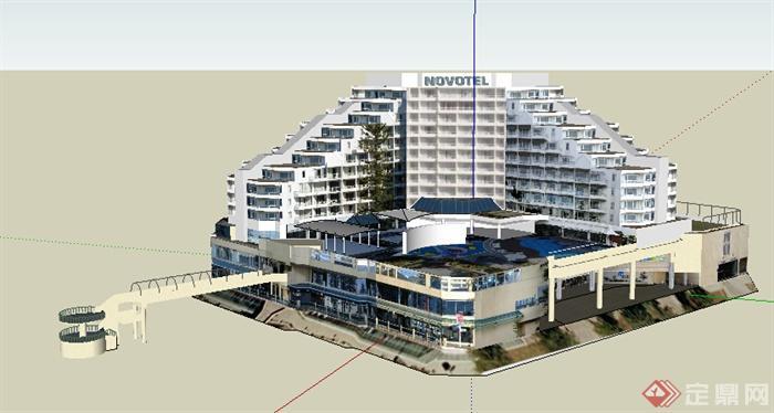 现代多层商业建筑带屋顶游泳池设计su模型