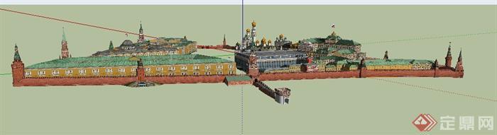 欧式风格政府办公区建筑带城墙设计su模型