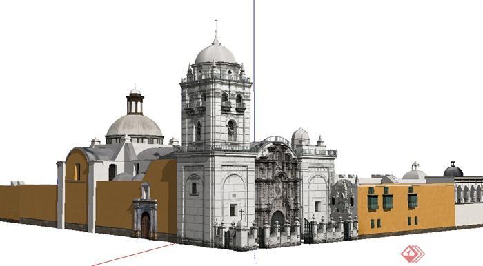 某传统欧式商业建筑设计su模型素材