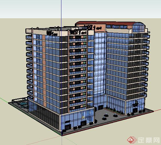 现代风格小高层玻璃外立面办公建筑设计su模型