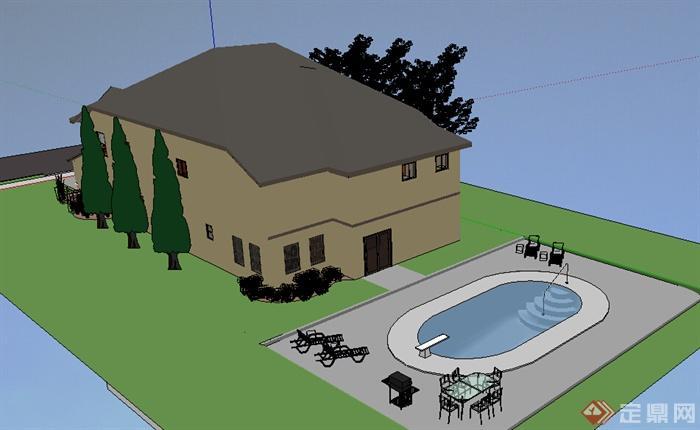 现代风格临街别墅建筑带游泳池设计su模型