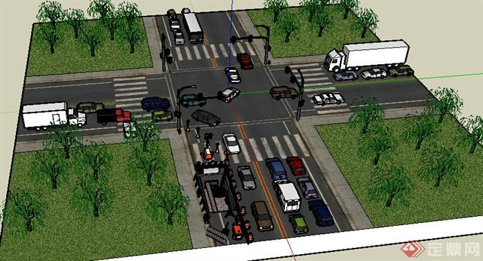 现代十字路路口街道,汽车设计su模型