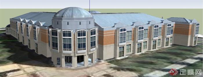 某欧式风格中央图书馆建筑设计su模型