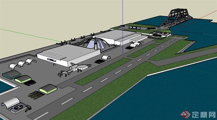 某城市小型海上机场建筑设计su模型