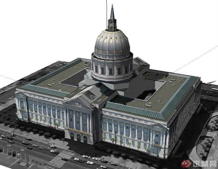 欧式风格旧金山市政厅建筑设计su模型