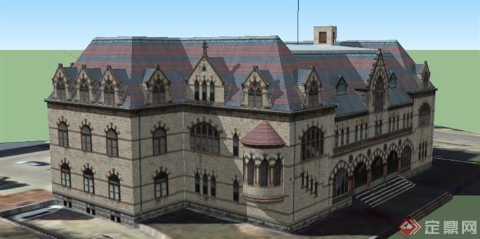 某欧式风格老式邮政局建筑设计su模型(1)图片