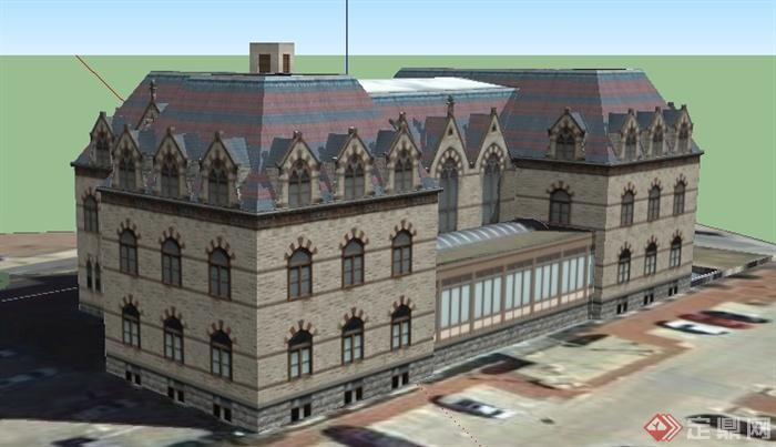 某欧式风格老式邮政局建筑设计su模型