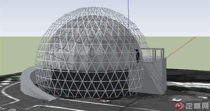现代风格球体造型展馆建筑设计su模型(1)