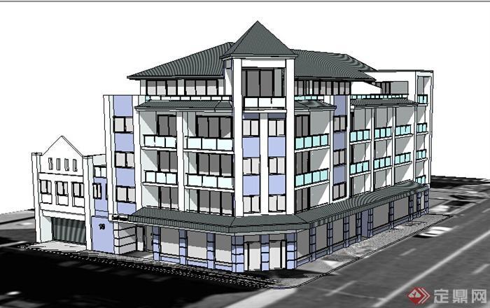 现代中式风格沿街多层商住建筑设计su模型(1)