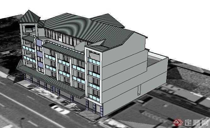 现代中式风格沿街多层商住建筑设计su模型(2)