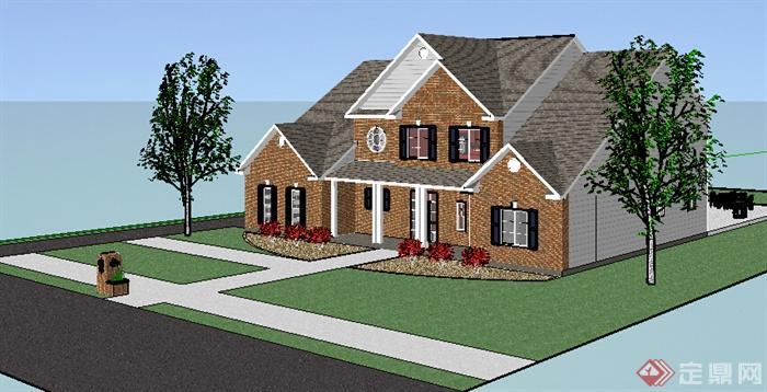 简欧风格两层沿街住宅别墅建筑带游泳池设计su模型