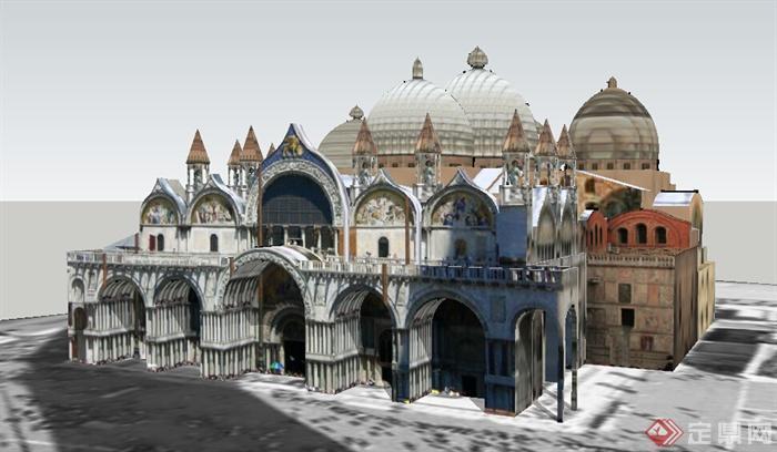 某欧式旅游建筑设计su模型素材
