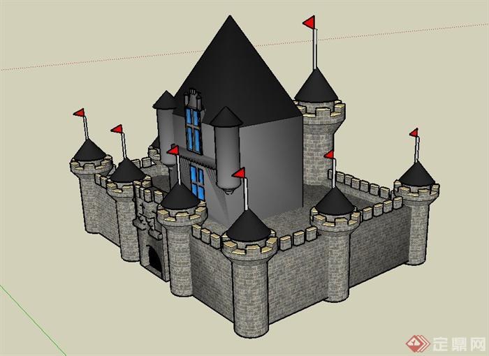 某古欧式城堡建筑设计su模型1