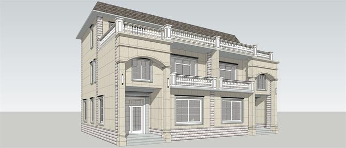 某美式豪华别墅设计su模型参考