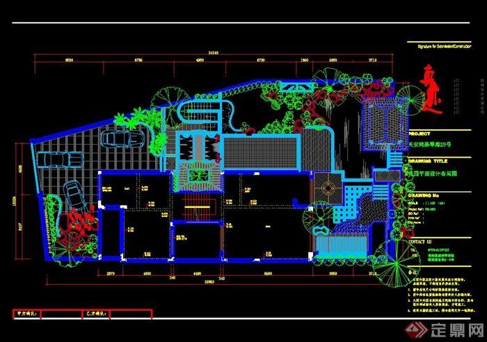 某别墅屋顶花园花园景观设计平面图