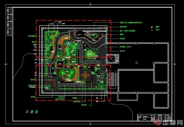 某别墅屋顶花园景观绿化设计平面图