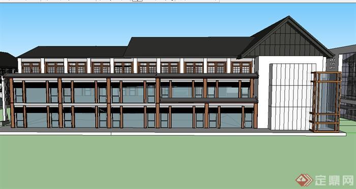 某新中式居住建筑设计su模型参考图片