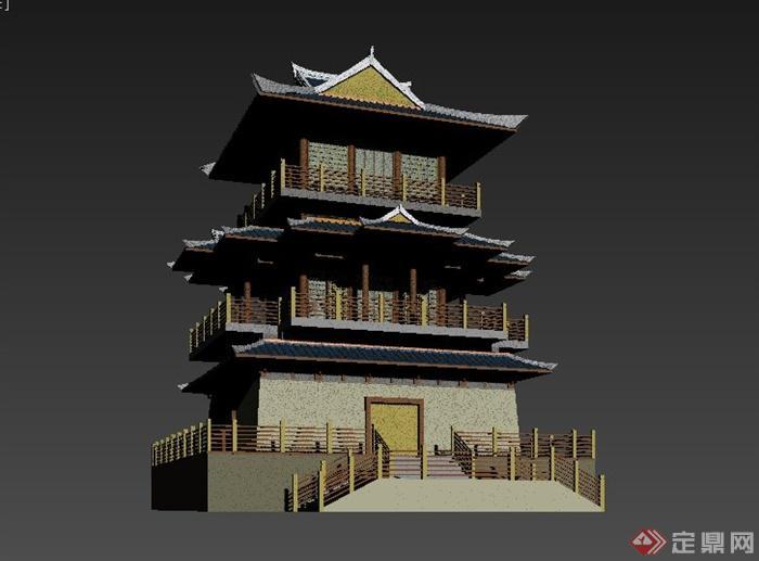 某古典中式三层古塔建筑设计3dmax模型