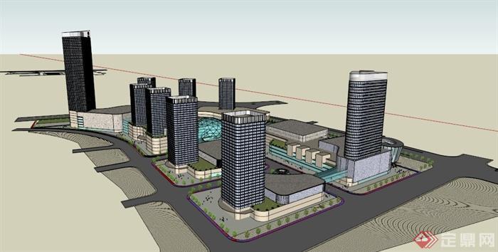 现代某科技工业园区办公建筑设计su模型