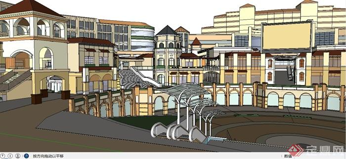 某简欧风格购物广场商业建筑设计su模型