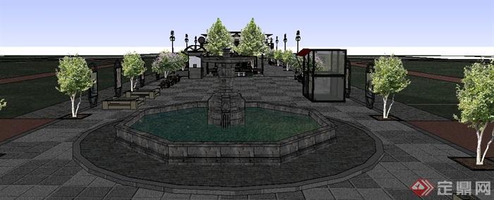 某欧式风格商业街以及市政厅建筑景观设计su模型