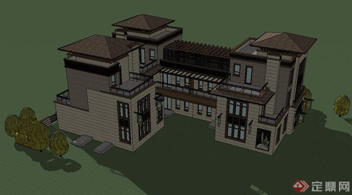 海南某东南亚风格商业楼建筑设计SU模型