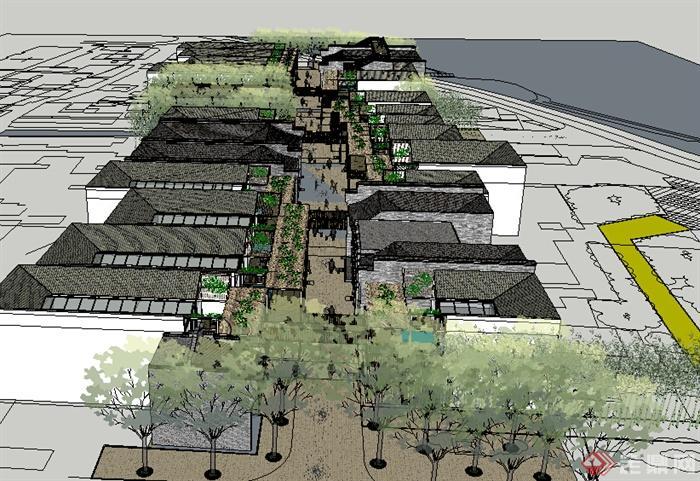现代中式风格两层商业街商铺建筑设计su模型