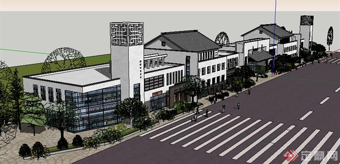 现代中式风格沿街多层商业建筑设计su模型(2)