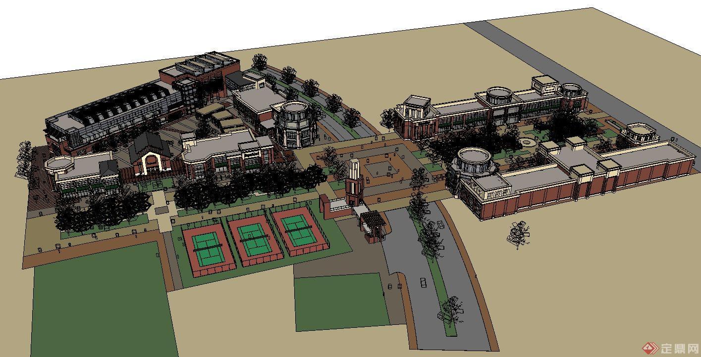 某欧式商业广场建筑设计su模型图片