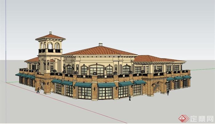 某欧式两层办公建筑设计su模型
