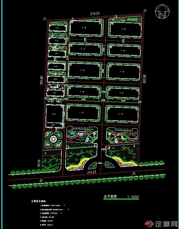 某厂区规划设计cad总平面图,较为简洁的厂区植物种植和建筑用地规划