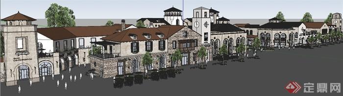 某欧式风格商业街建筑设计su整体模型