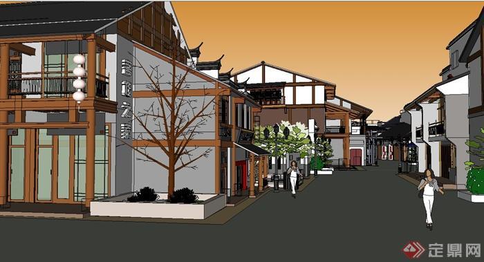 某仿古中式商业街建筑设计su模型1图片