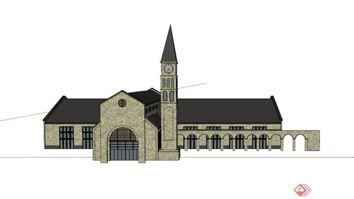 某欧式单层教堂建筑设计su模型