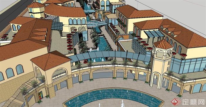 某欧式商业街建筑设计su模型(带景观)