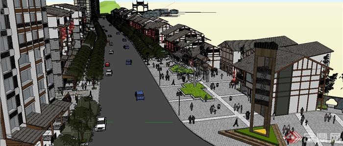 现代中式风格商业街古镇建筑设计SU模型高清图片