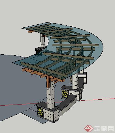 现代风格弧形玻璃顶木石结构廊架设计su模型(1)