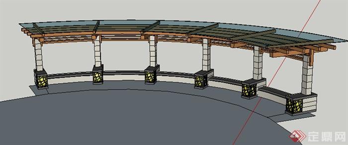 现代风格弧形玻璃顶木石结构廊架设计su模型(2)
