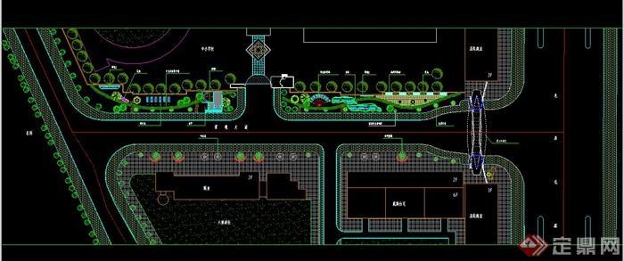 某住宅小区东入口景观大道设计CAD平立面图