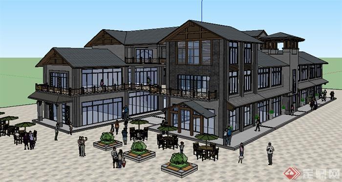 新中式风格多层临街商业商铺建筑设计su模型(1)图片