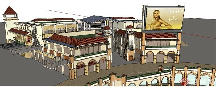 某欧式购物广场商业建筑设计su模型图片