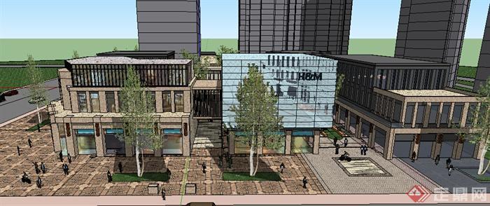 现代风格三层街角商业建筑设计su模型