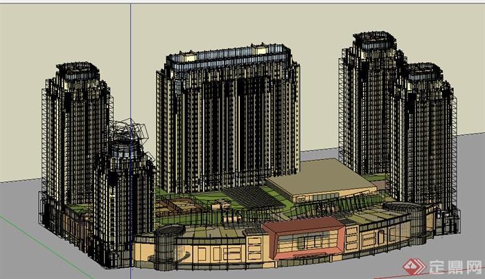 某高层欧式商住建筑设计su模型素材